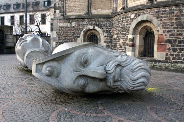 Decapitated statues in Bonn, Germany