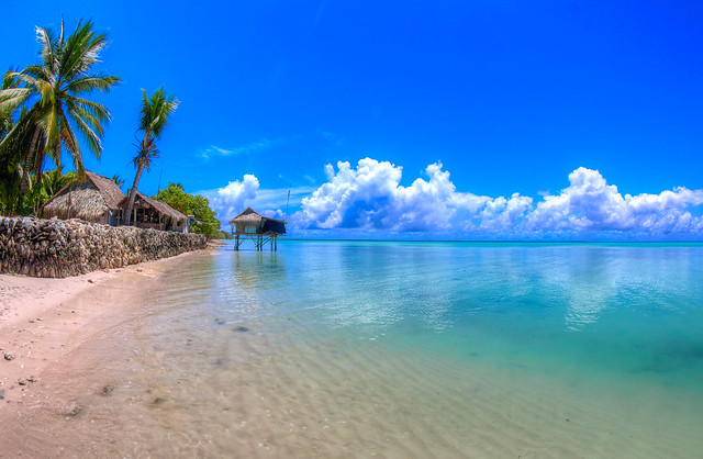 Lagoon side in Abaiang, Kiribati - Virtual reality view in description