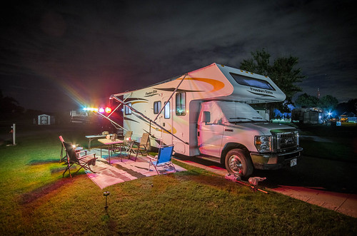 Night shot of our RV at Windemere Cove