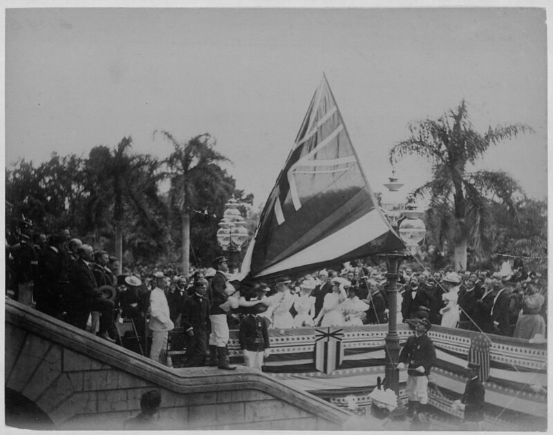 Lowering of the flag of the Kingdom of Hawaiʻi over ʻIolani Palace after annexation