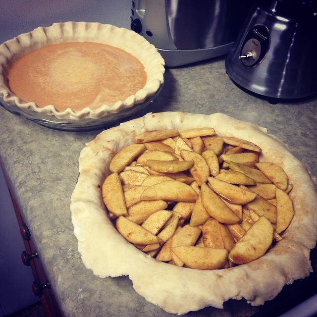 This is my most ambitious pie holiday so far. I made a lattice crust for the apple, but we will have to see how that turns out when it comes out of the oven. Didn't snap a photo of it beforehand. PS I know everyone is all done with posting TG cooking phot