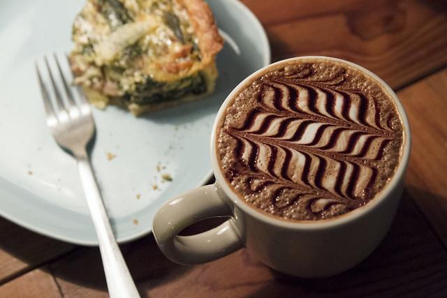 Quiche and latte