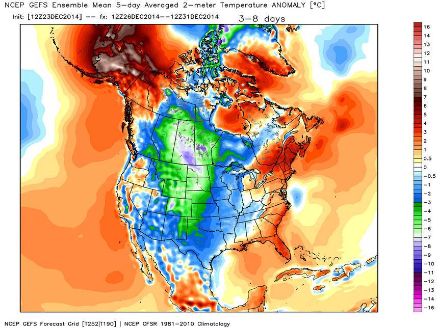 GFS temperatures anomaly forecast