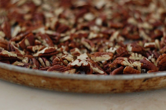 Toasting the pecans for the Maple Pecan Chocolate Pie by Eve Fox, the Garden of Eating, copyright 2014