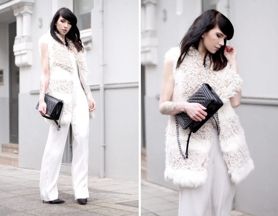 outfit party white seventies night fever fur jumpsuit overall weiß siebziger mädchen pretty holidays snow winter ricarda schernus fashionblogger cats & dogs blog hannover berlin 6