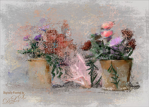 Image of some flowers painted in Corel Painter and Photoshop