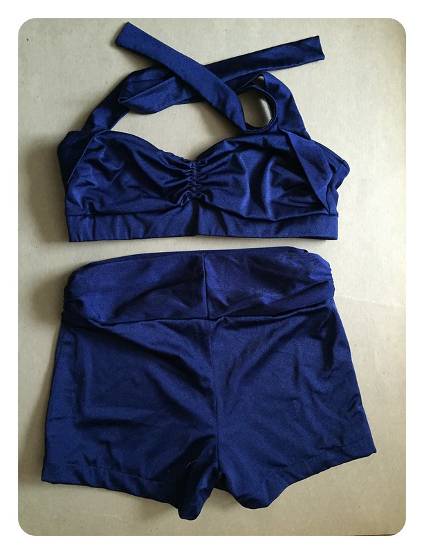 Red Knits_Navy Swimsuit