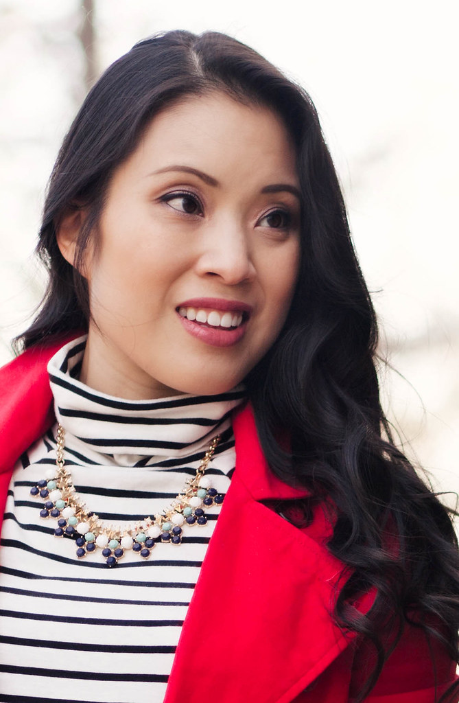https://cuteandlittle.com | petite fashion blog | red trench, black white striped turtleneck, rocksbox perry street lina necklace