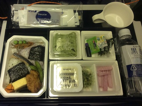 ANA onigiri and salmon bento with tofu and soba #airlinemeals
