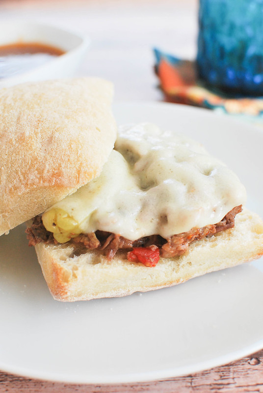 Crockpot Spicy Italian Drip Beef Sandwiches