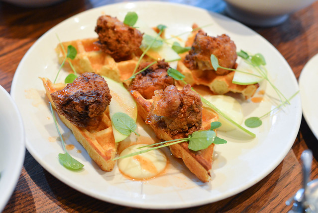 fried duck & waffles maple, pear, mascarpone