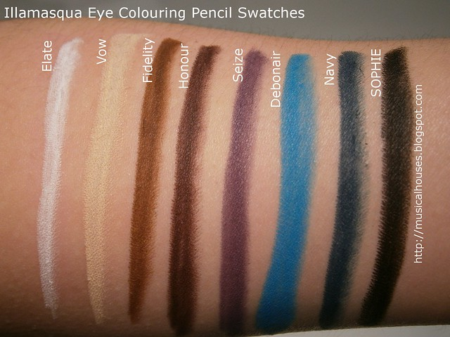 Illamasqua Eye Colouring Pencil Swatches
