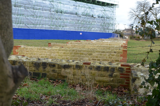 The reconstructed starting-gates and part of the seating-stand of the circus, built precisely to the plan of the actual circus remains below ground, Roman Circus of Camulodunum, Colchester (UK)