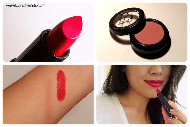 "Beauty/makeup review and swatches with Cheek Color blush in ""Passion"" and Lip Color Cream lipstick in ""Legend"" by Paula Dorf"
