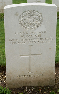 W. Quinn, Royal Inniskilling Fusiliers, 1916, War Grave, Connaught Cemetery