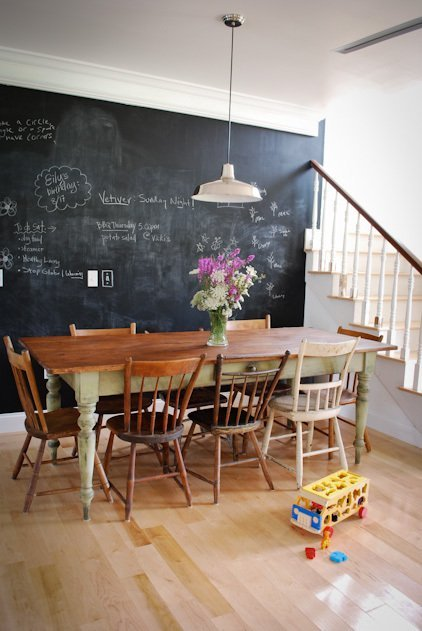 mismatched chairs in dining room