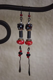 Black and Red Spotted Porcelain Beads With Mixed Metal Earring Set E - 0164