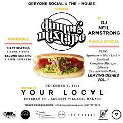 12/4 - Thursday - Dinner And  A Mixtape comes to Manila for the release of Leaving Dishes Vol 1 - Food Guide Book