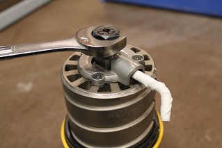 Router collet with pin and wrench