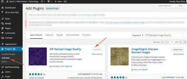 how to change the image compression on wordpress