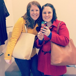Some Boxing Day shopping with our coordinating bags and coats. #andthenweboughmatchingshirts #sisters