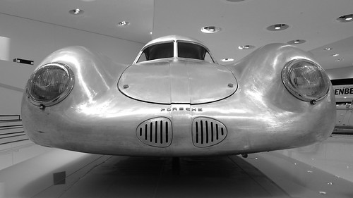 Aluminium body of early Porsche Typ 64 prototype, displayed without wheels