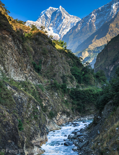 travel nepal panorama mountain color vertical forest river landscape dawn asia scenic valley remote annapurnacircuit annapurna himalayas nilgiri tatopani kaligandaki bagmati annapurnaconservationarea nilgirihimal nilgirisouth