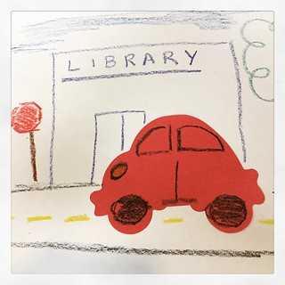 Sometimes the simplest craft gets the kids talking. I had them draw where they would drive in their cars. #librarian #storytime