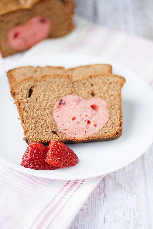 Chocolate Strawberry Hidden Heart Pound Cake for Valentines Day