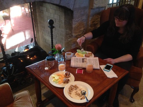 Jen Having Breakfast by the Fire