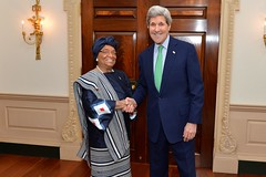 U.S. Secretary of State John Kerry poses for a photo with Liberian President Ellen Johnson Sirleaf before their meeting at the U.S. Department of State in Washington, D.C., on February 27, 2015. [State Department photo/ Public Domain]