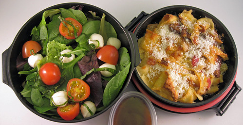 Baked pasta and salad bento