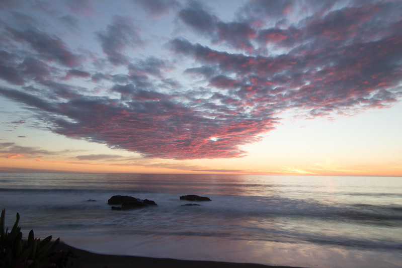 sun setting, San Simeon, California
