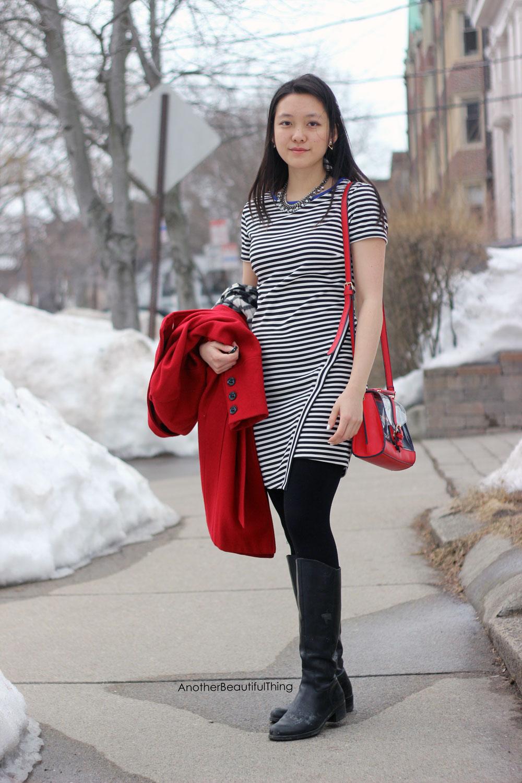 Black and white stripe asymmetrical cut dress