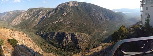 panorama delphi greece 2016 delfoi gulfofcorinth phocis corinthiangulf