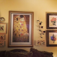 Day 26-Wall-above my family room sofa. Klimt, flowers and birds! #fmsphotoaday