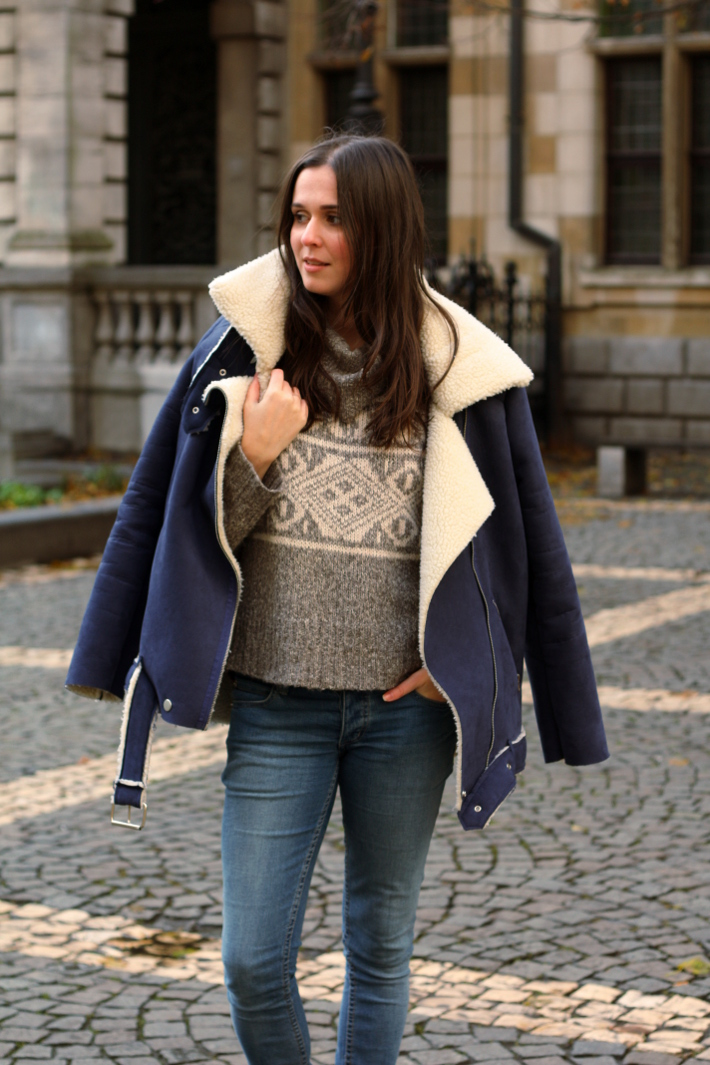 shearling biker jacket, Fair Isle knit