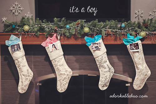 second baby holiday, christmas gender reveal announcement with stockings