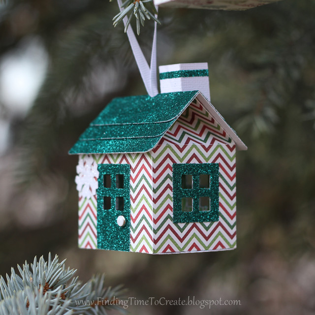 House Ornaments - dark green glitter