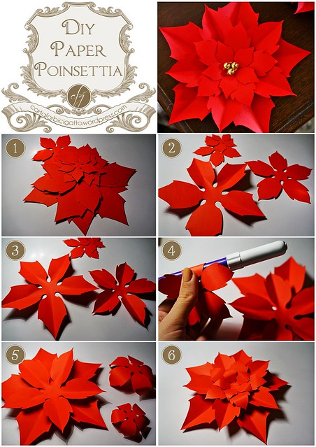DIY Paper Poinsettia {Free Template} | Carta, forbici, gatto