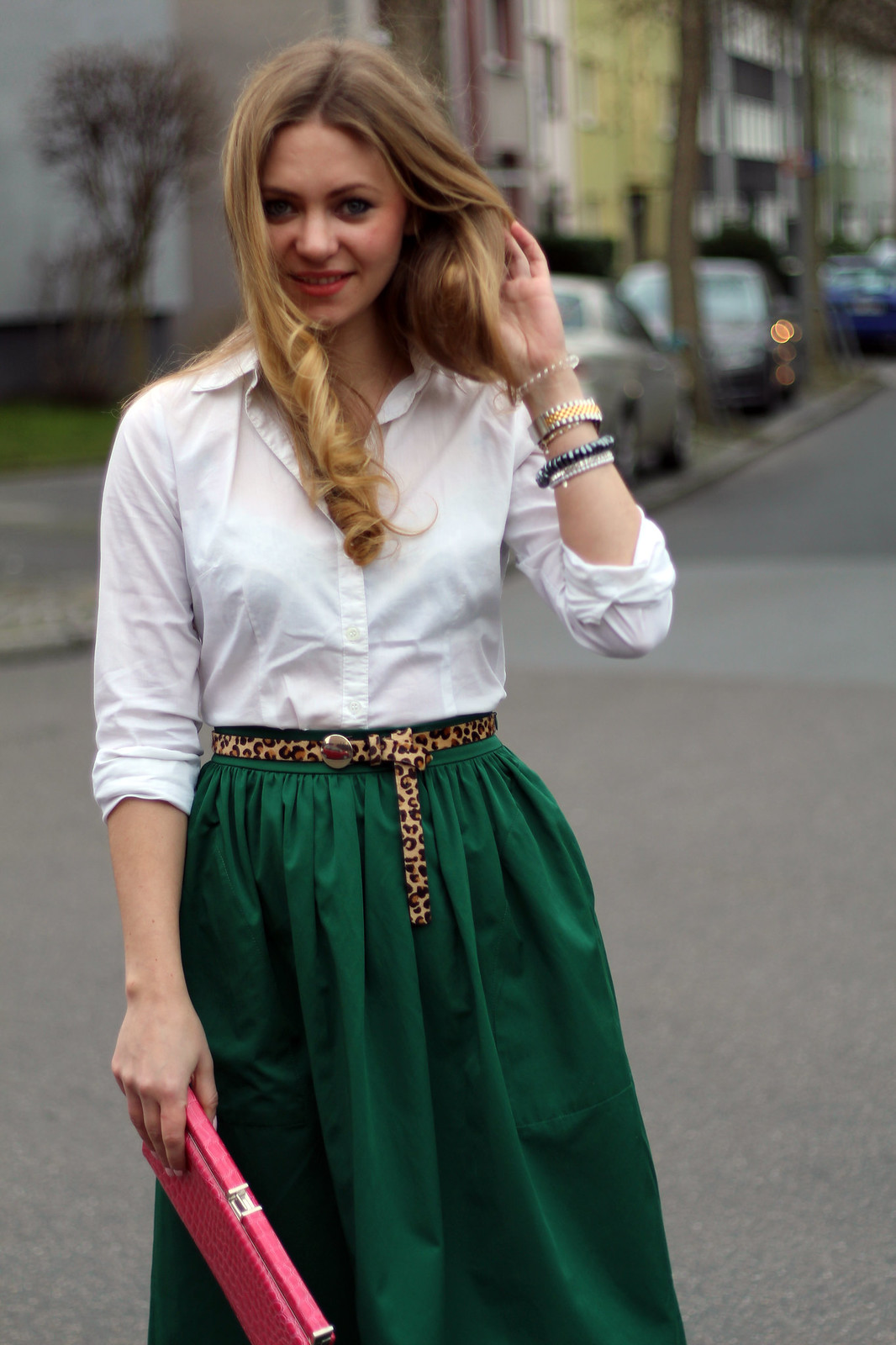 zara green midi skirt