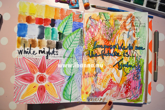 Art Journal spread: White Nights watercolor swatches and a favorite Yoda quote lettered by iHanna