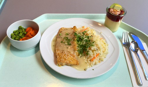 Hake in sesame with vegetable rice & herb sauce / Seehecht in Sesamkrust mit Gemüsereis & Kräutersauce
