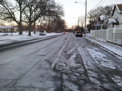 Failure to remove snow from a bicycle lane, 3rd Street NW