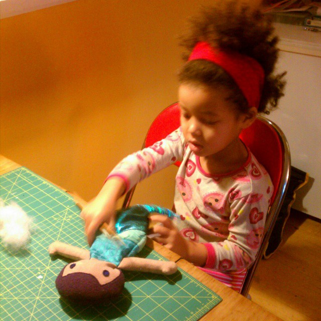 She was so excited to stuff the mermaid doll for her cousin this morning it was hard to get her to eat breakfast. #sewingforkids #sewing #sewing #dollmaking #dolls