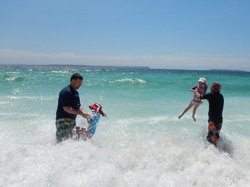 In the waves at Hyams Beach