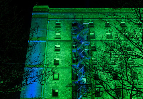party green docks bristol illuminated warehouse harbourside