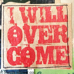 I will overcome: word art on Kraft paper from an art journal entry a year ago. #wordart #artjournaleveryday #artjournal #laseronkraftpaper #kraftscrap #personalart #iwillovercome #determination