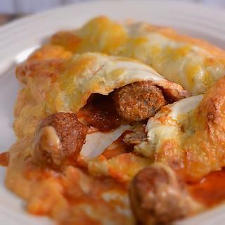 Italian Meatball Enchiladas inside