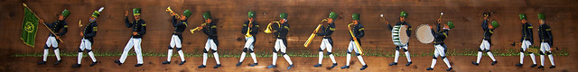 Marching Band painted onto a wooden beam, Geising,Germany